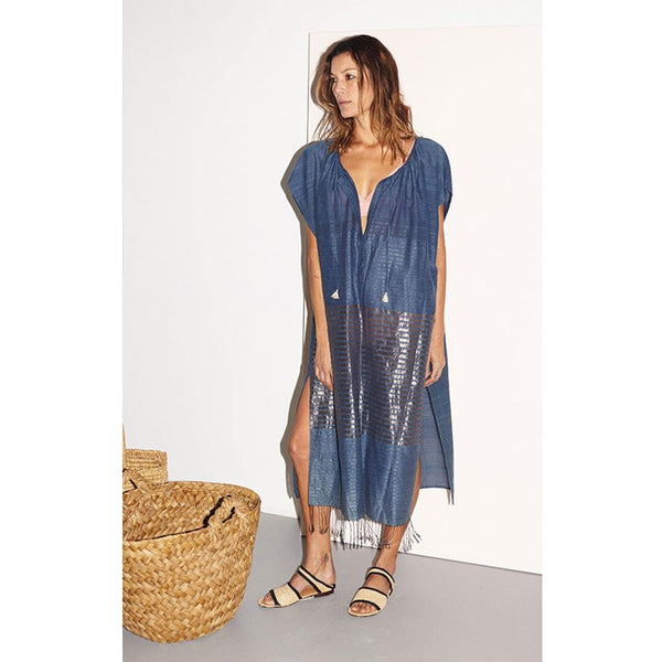 Indigo and Metallic Tassel Caftan