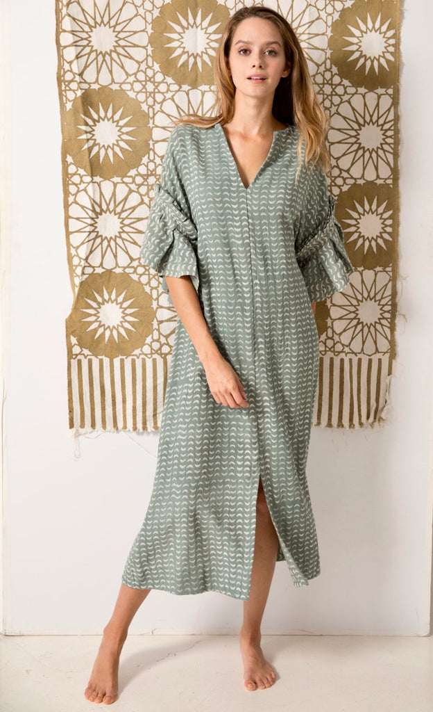Dusty Green Cotton Block Print Jaipur Caftan Dress