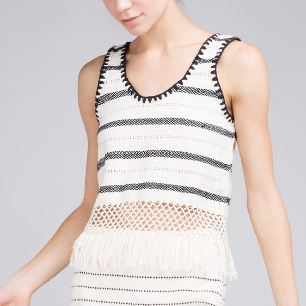 DIANA ECRU STRIPE CROPPED TOP