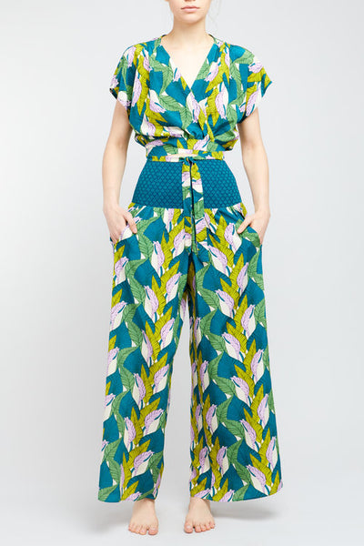 'Beverly' Green Magic Leaves Wide Leg Gaucho Pant