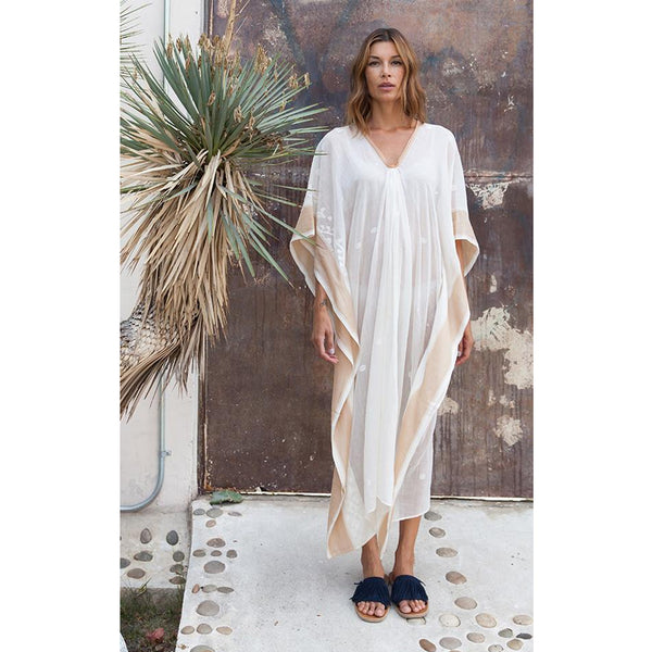 Jamdani Caftan with Silk Border