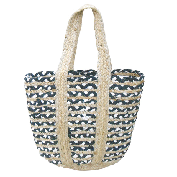 Black and White Cotton Jute Bag