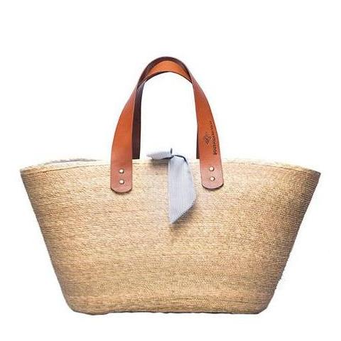 Large Ibiza Palm Tote with Blue Lining