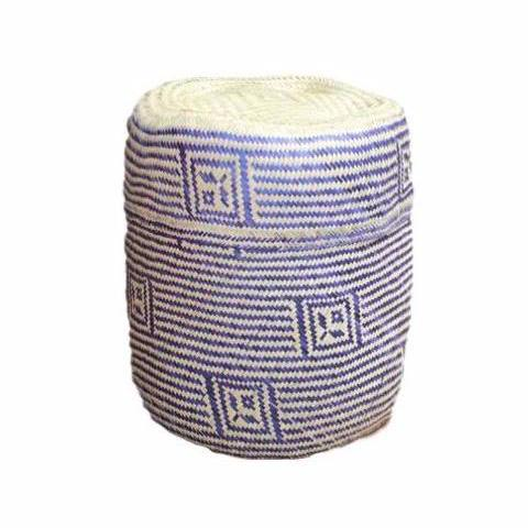 Large Purple Palm Handwoven Basket