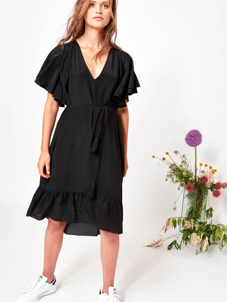 The Sofia Flutter Sleeve Silk Dress