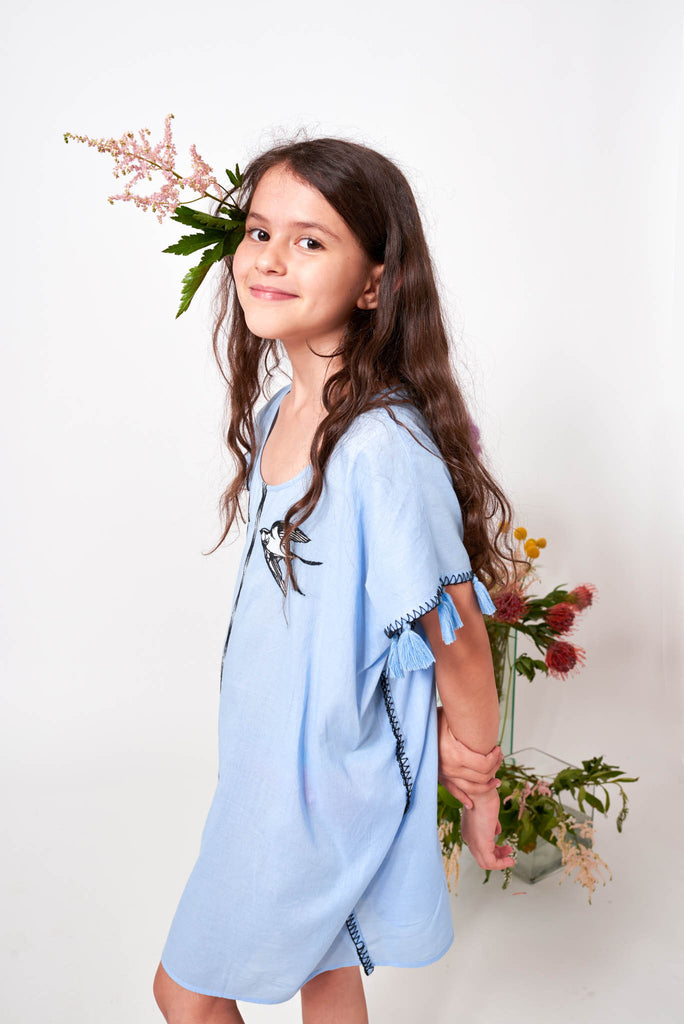 Anais Embroidered Cotton Caftan for Kids
