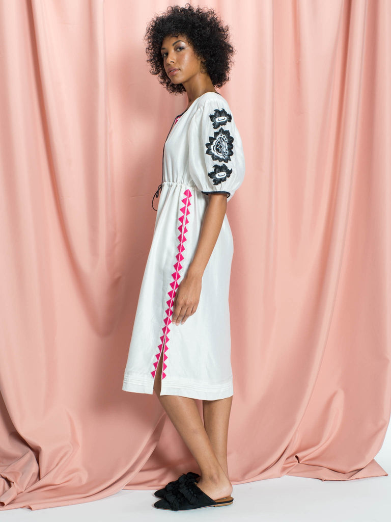 Ella Floral Embroidered Billowy Sleeve Silk & Cotton Midi Dress in White