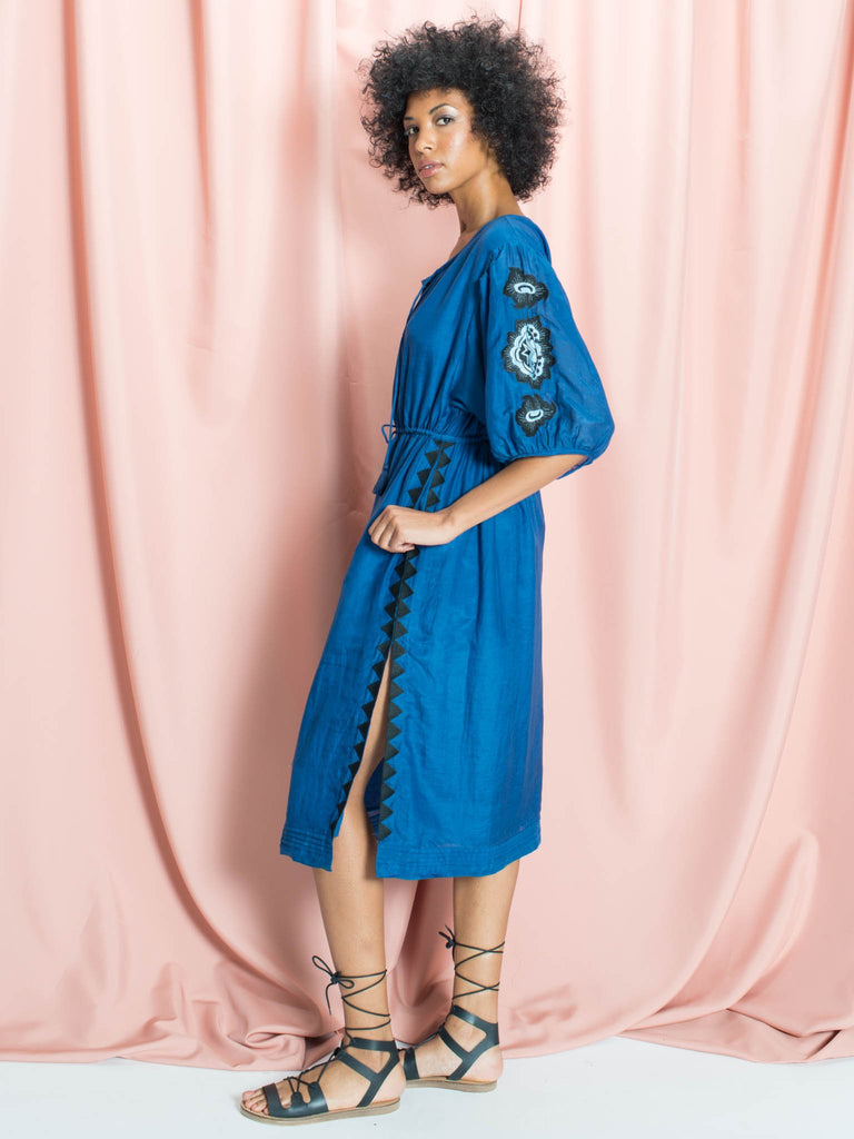The Ella Blue Silk & Cotton Midi Dress with Floral Embroidery