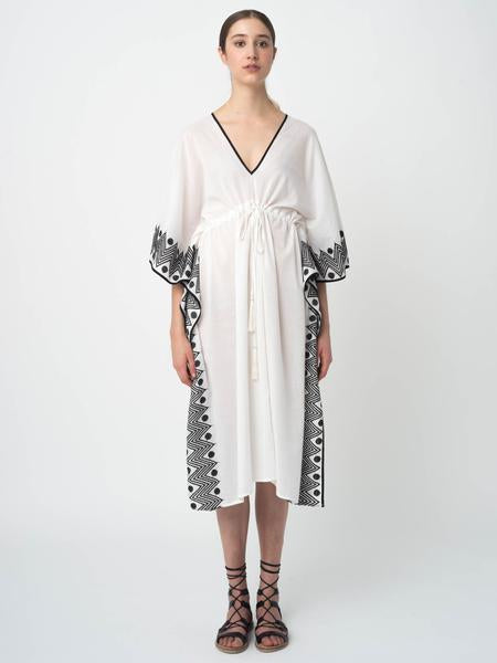 Daphne Black Border Cotton Caftan in White