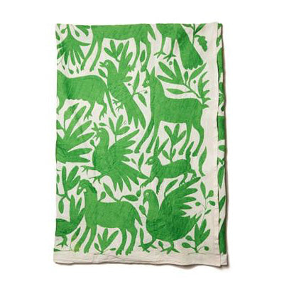 Lime Green Cotton Otomi Tenago Table Cloth