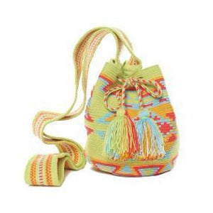 Lime Neon Multi Cotton Riohacha Tassel Bag