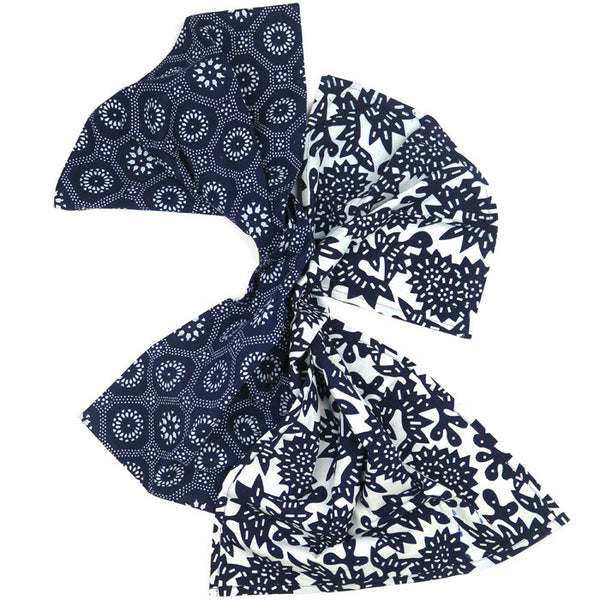 Indigo Cotton Flower and Honeycomb Tea Towel Set