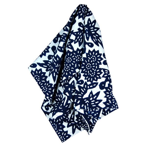 Indigo Flower Cotton Tea Towel