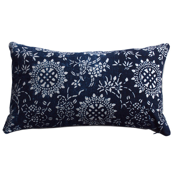 Vintage Indigo Cotton Eternal Knot Pillow