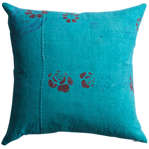 Vintage Teal Cotton Guangdong Pillow