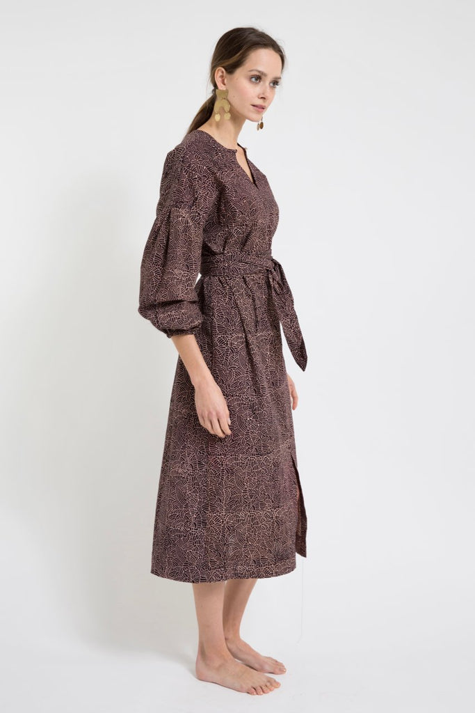Eggplant Cotton Venice Block-Printed Dress