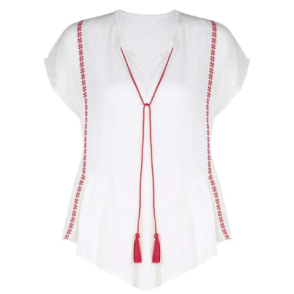 White and Red Monaco Blouse