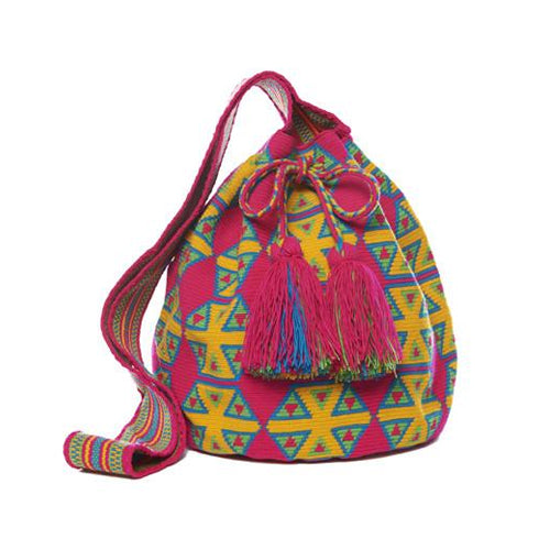 Magenta and Yellow Diamond Cotton Cartagena Mochila Bag