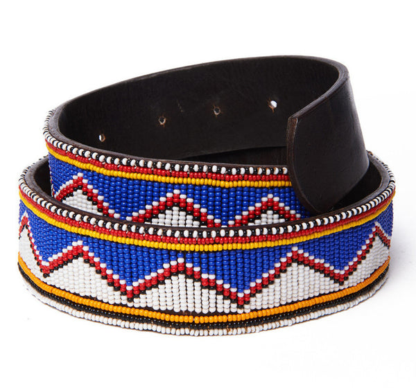 Blue and White Triangle Bead Belt