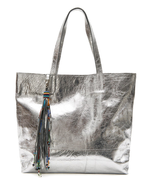Silver Leather Tassel Tote