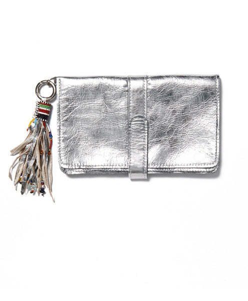 Silver Leather Mini Wristlet Tassel Clutch
