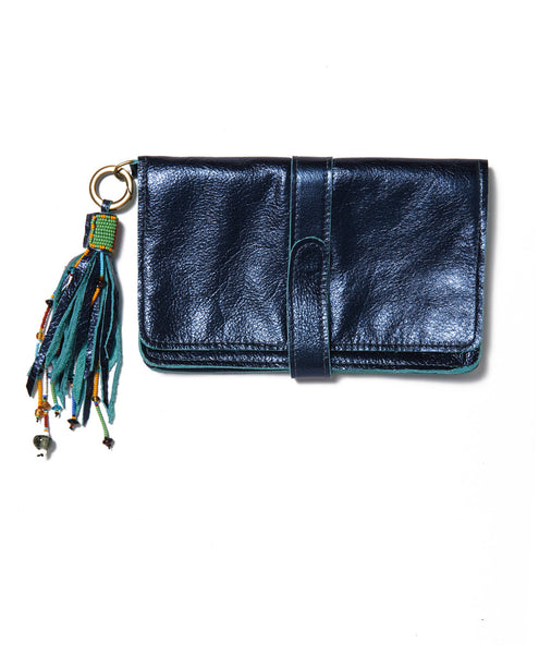 Metallic Blue Mini Wristlet Clutch