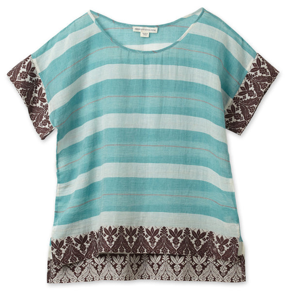 Mint Cotton Bengal Border Crop Top
