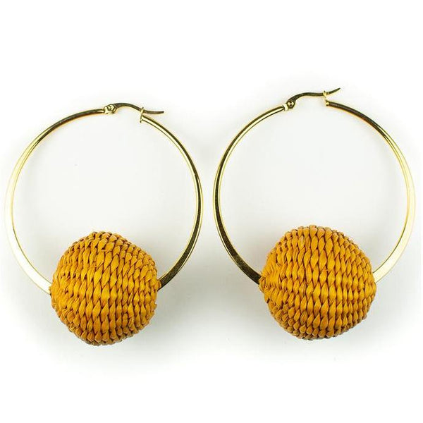 Mustard Palm Cardonga Hoop Earrings