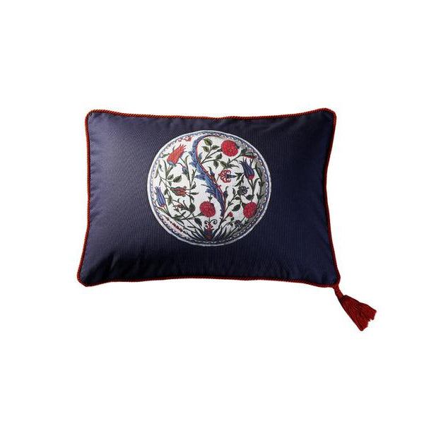Navy Cotton Iznik Lala Floral Medallion Cushion Cover
