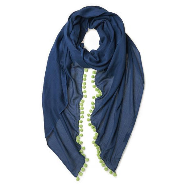 Navy Cotton Lime Pom Pom Scarf & Sarong