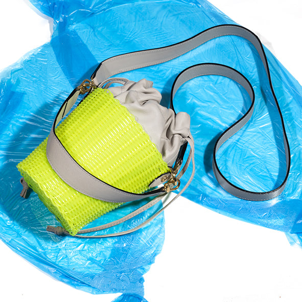 Neon Green Woven Leather Bucket Bag