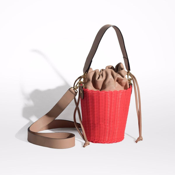 Neon Pink Woven Leather Bucket Bag