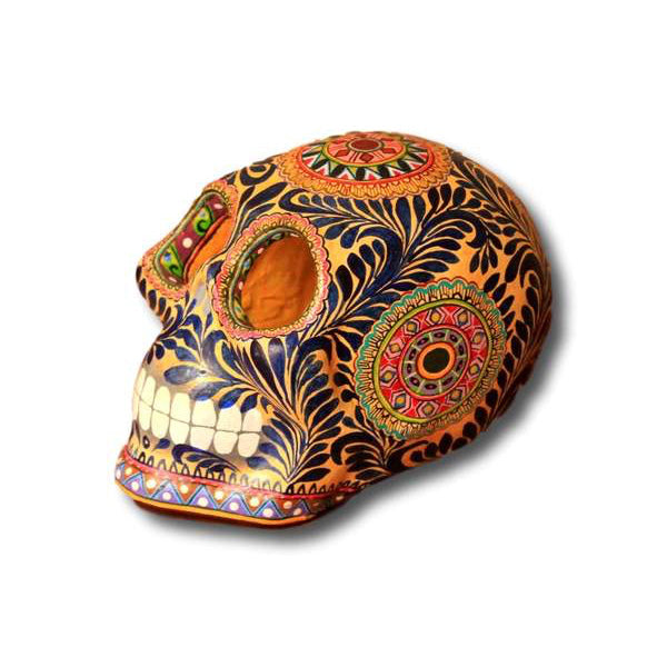 Orange Ceramic Mexican Sugar Skull