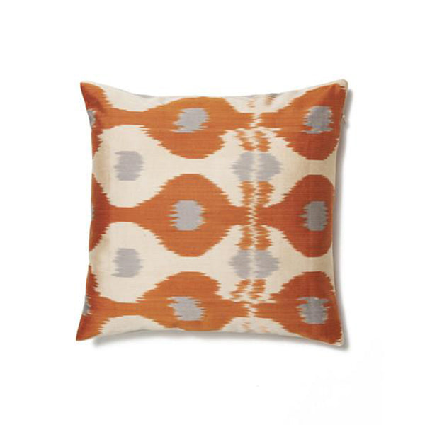 Orange and Ivory Abstract Dot Cotton Ikat Cushion Cover