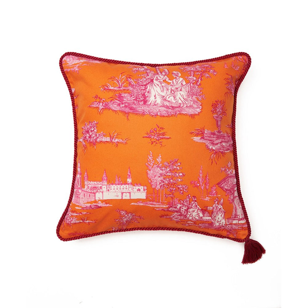 Orange Pink Hasbahce Print Red Trim Cushion Cover
