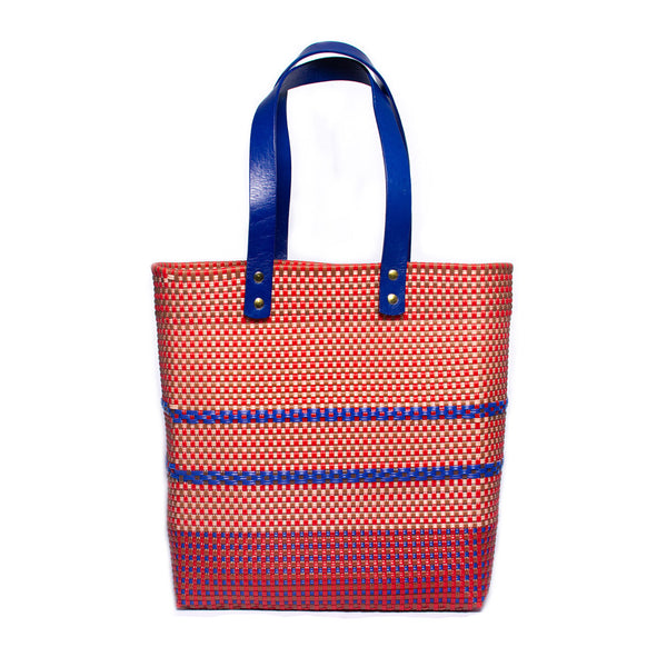 Orange with Blue Handles Stella Market Tote
