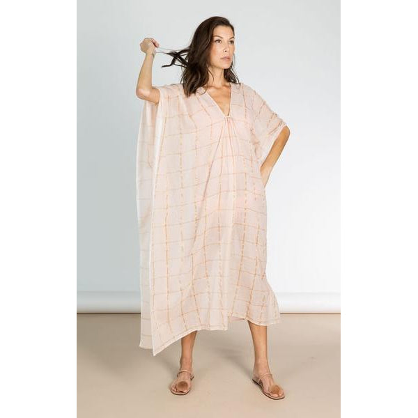 Long Pale Pink & Gold Metallic Grid Cotton Caftan