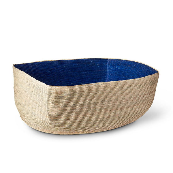 Natural & Indigo Rectangular Basket