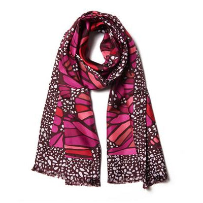 Pink Butterfly Silk Scarf