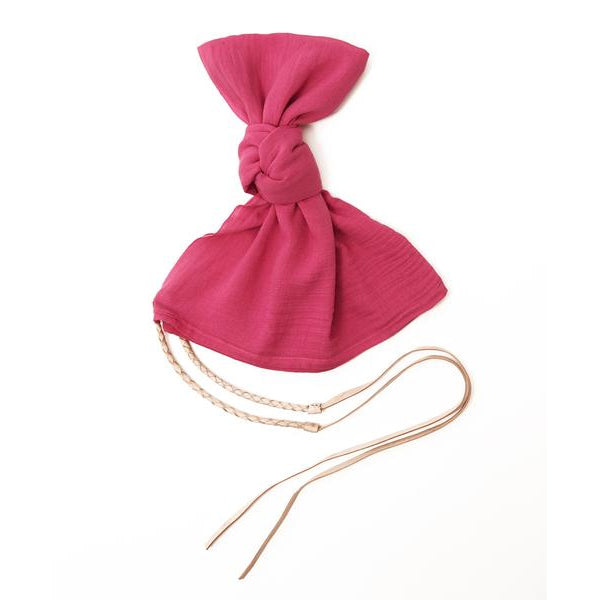 Pink Cotton Pareo Wrap with Tan Tie