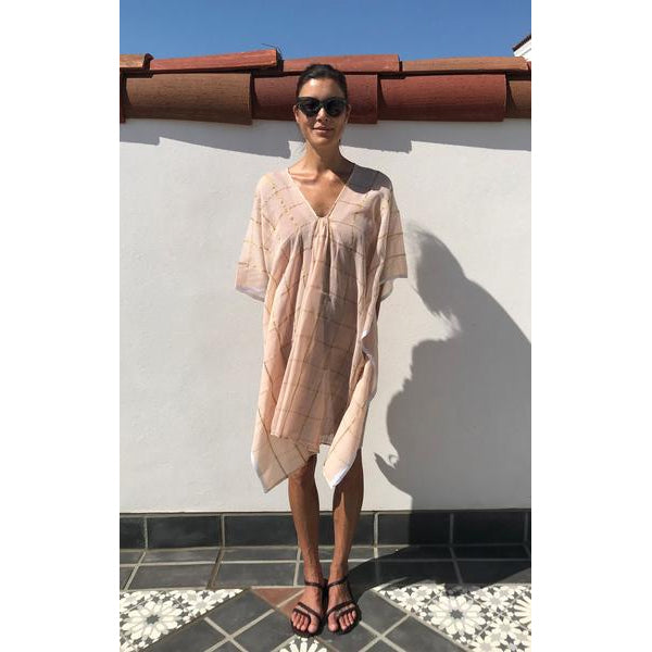 Short Pink & Gold Metallic Grid Cotton Caftan