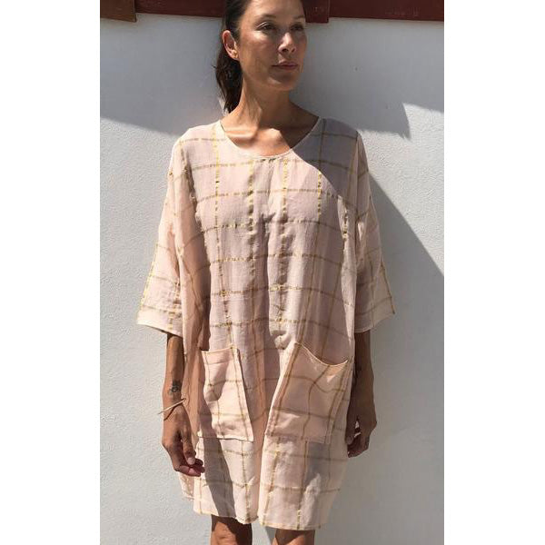 Pink & Metallic Gold Cotton Grid Tunic Dress