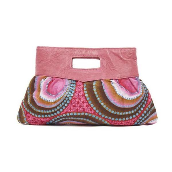 Pink Print Cotton Island Clutch