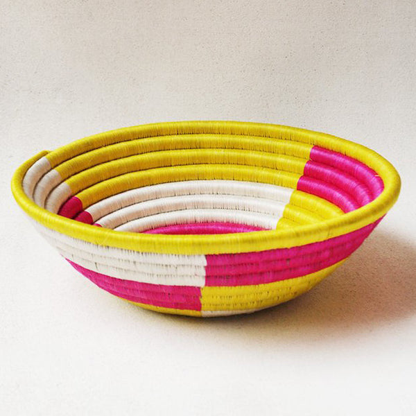 Pink and Yellow Block Plateau Basket