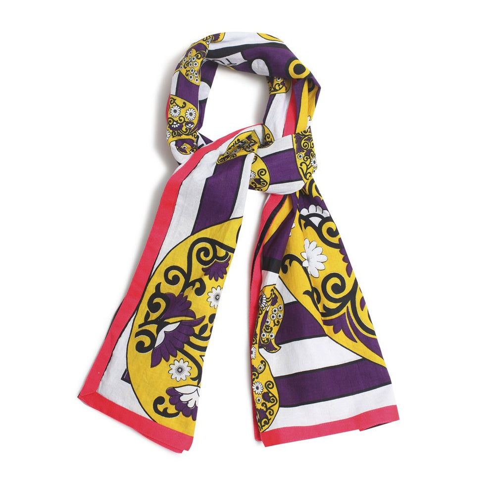 Purple And Yellow Cotton Basquiat Paisley Sarong