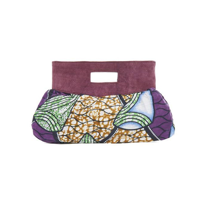 Purple Print Cotton Island Clutch