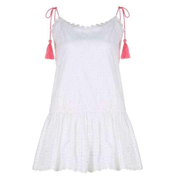 White and Coral Ravello Mini Dress