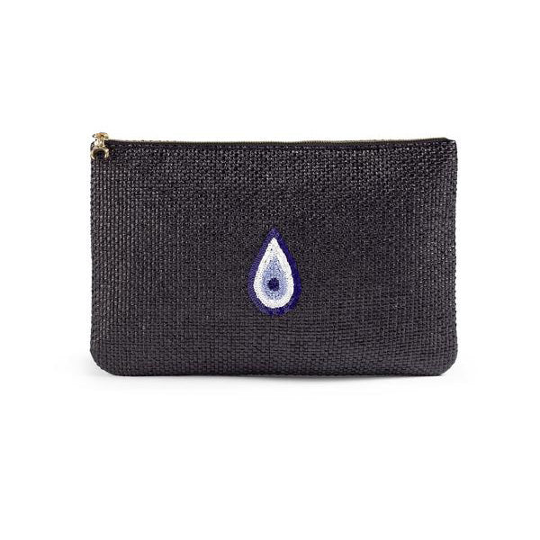 Raffia Evil Eye Clutch