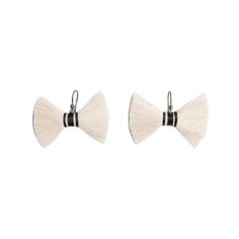 Raw Cotton Tzotz Murcielago Earrings
