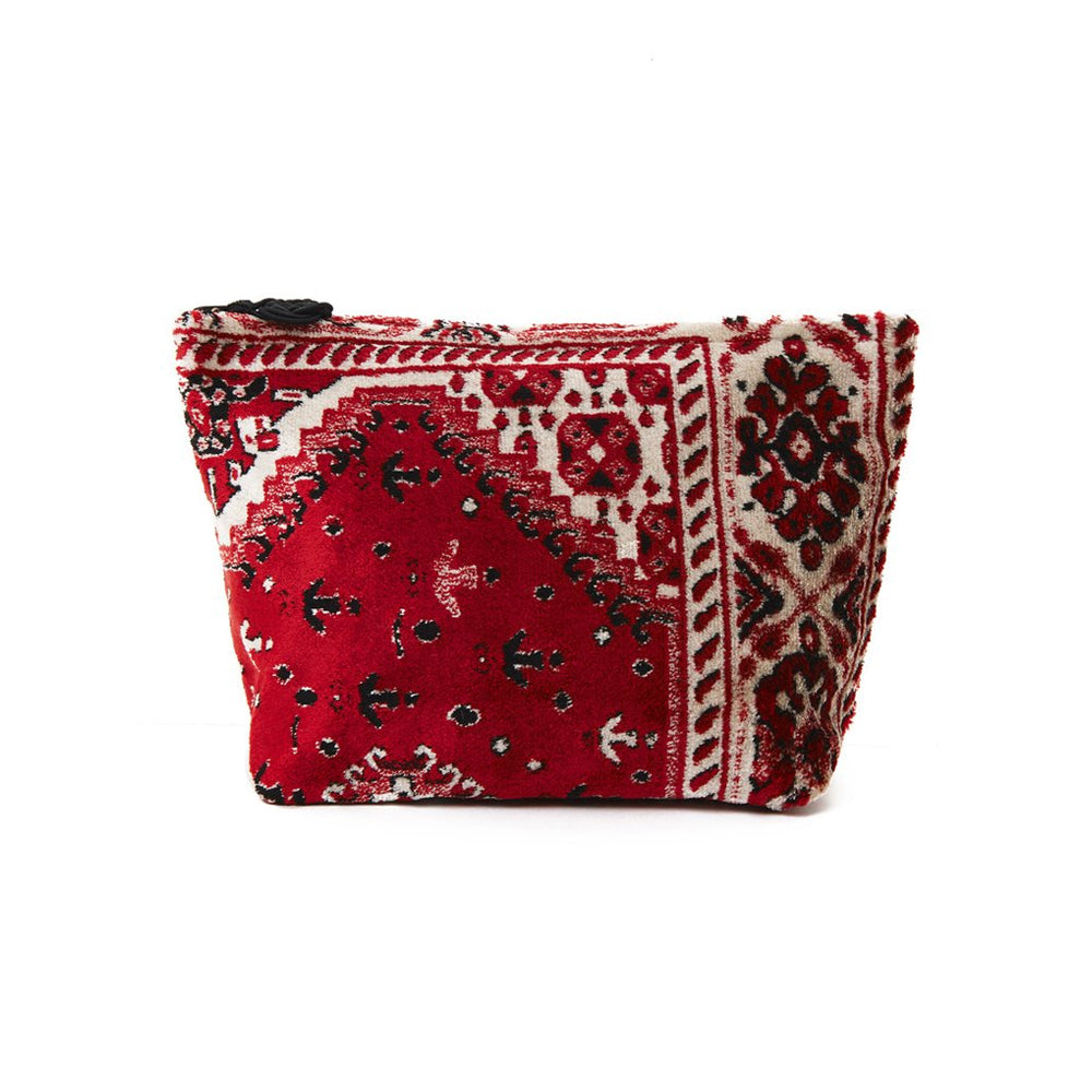 Red And Cream Plush Velour Large Pouch